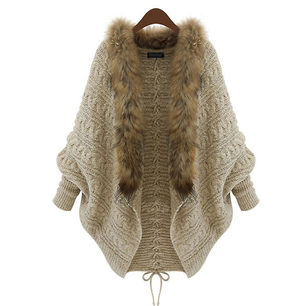 Kinikiss Autumn Women Sweater Cardigan Fashion Batwing Sleeve Wool Fur Tops Lace-Up Casual Loose Elegant Long Sleeve Knitted