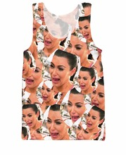 Crying Kim Tank Top reality tv star Kim Kardashian crying in a collage design 3d Print Vest Summer Style Jersey Camis Women Men