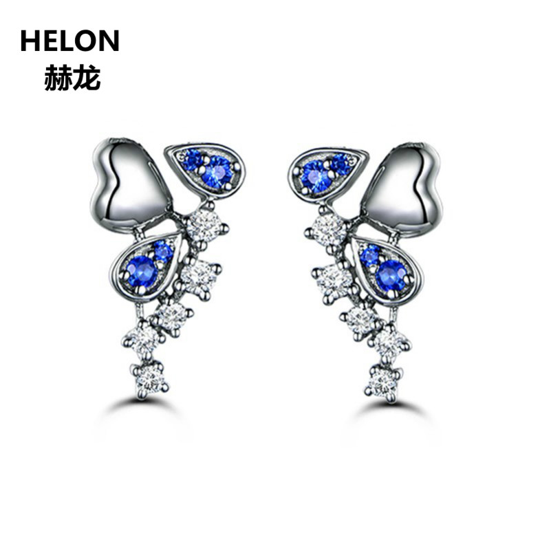 Solid 10k White Gold Women Earrings SI/H Natural Diamonds & Blue Sapphires Stud Earrings Engagement Valentine Jewelry Gift цена 2017