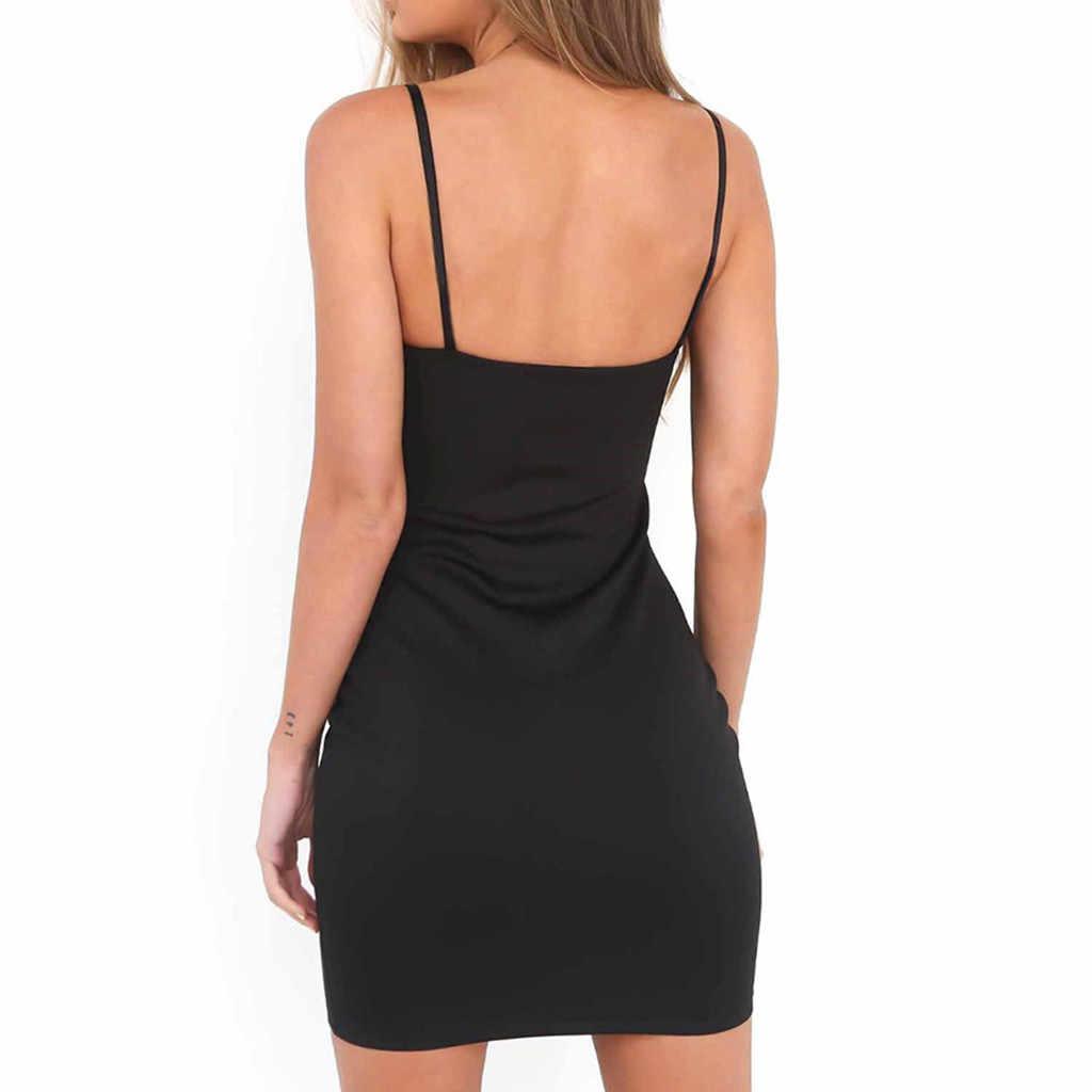 & 40 été femmes Mini robe à bretelles robe moulante soirée soirée Club court la robe vestidos de fiesta de noche wu 4