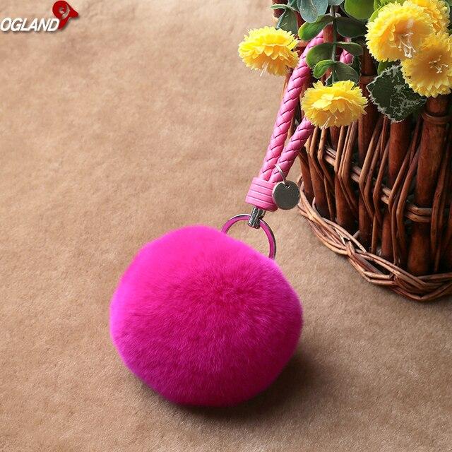 OGLAND Sexy Fofo Styling Pom Bola de Brinquedo Chaveiro de Pele De Coelho Rex Para O Ornamento Automóvel Pingente Em Cadeias De Peles De Animais como jóias