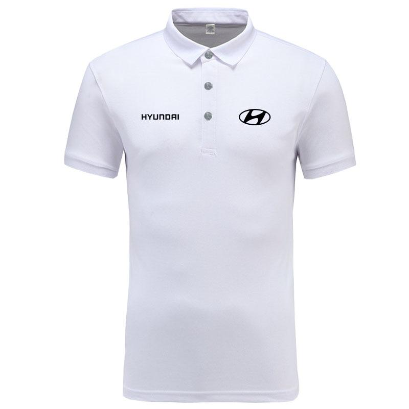 Hyundai logo   Polo   Shirt Men Brand Clothes Solid Color   Polos   Shirts Casual Cotton Short Sleeve   Polos