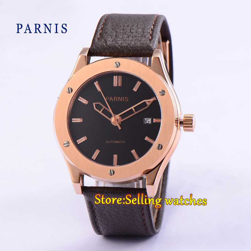 Parnis 44mm black dial  automatic mens Date Day Stainless steel golden case watch 40mm parnis stainless steel case black dial orange second hands mens automatic wristwatches pa4002sbo