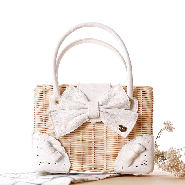Free shipping Liz lisa lace bow rattan bag beach bag straw bag Lace bowknot