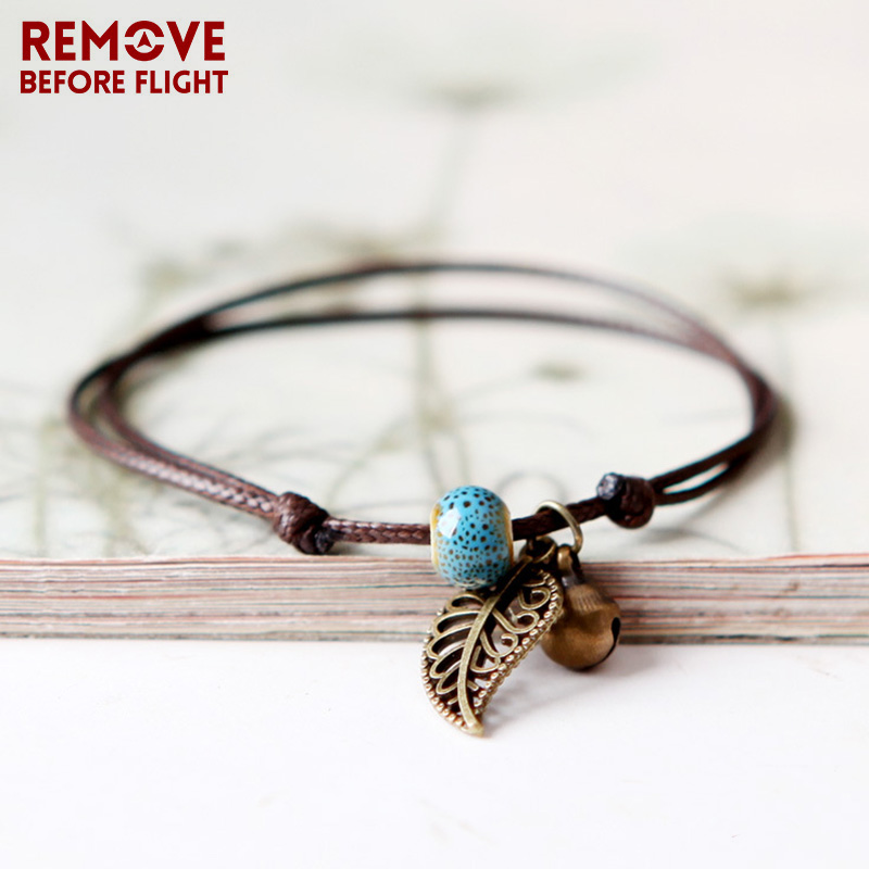 Fashion Jewelry Bracelets Bangles Ceramic Beaded Bracelet Candy Color Bohemia Vintage Leaf Bell Adjustable Bracelet for Women bracelet