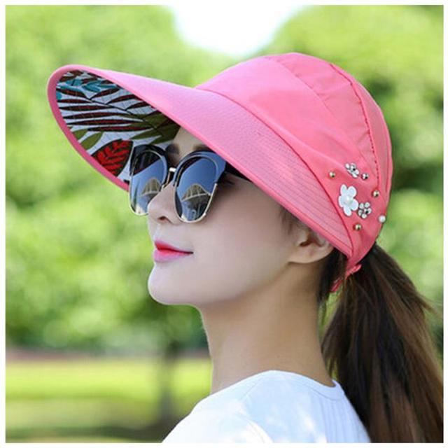 ac1b22bae6484e Women Outdoor Camping Hiking Climbing Cap Sunhat Folding Wide Brim Summer  Beach Caps UV Travel Sun Ladies Floppy Hats