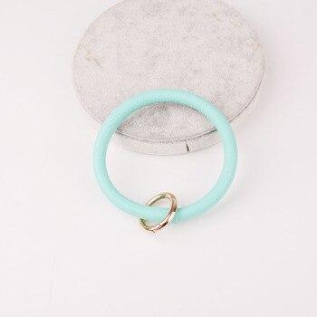 Rainbery New Fashion Monogram PU Leather O Custom Circle Wristlet Key chain 5