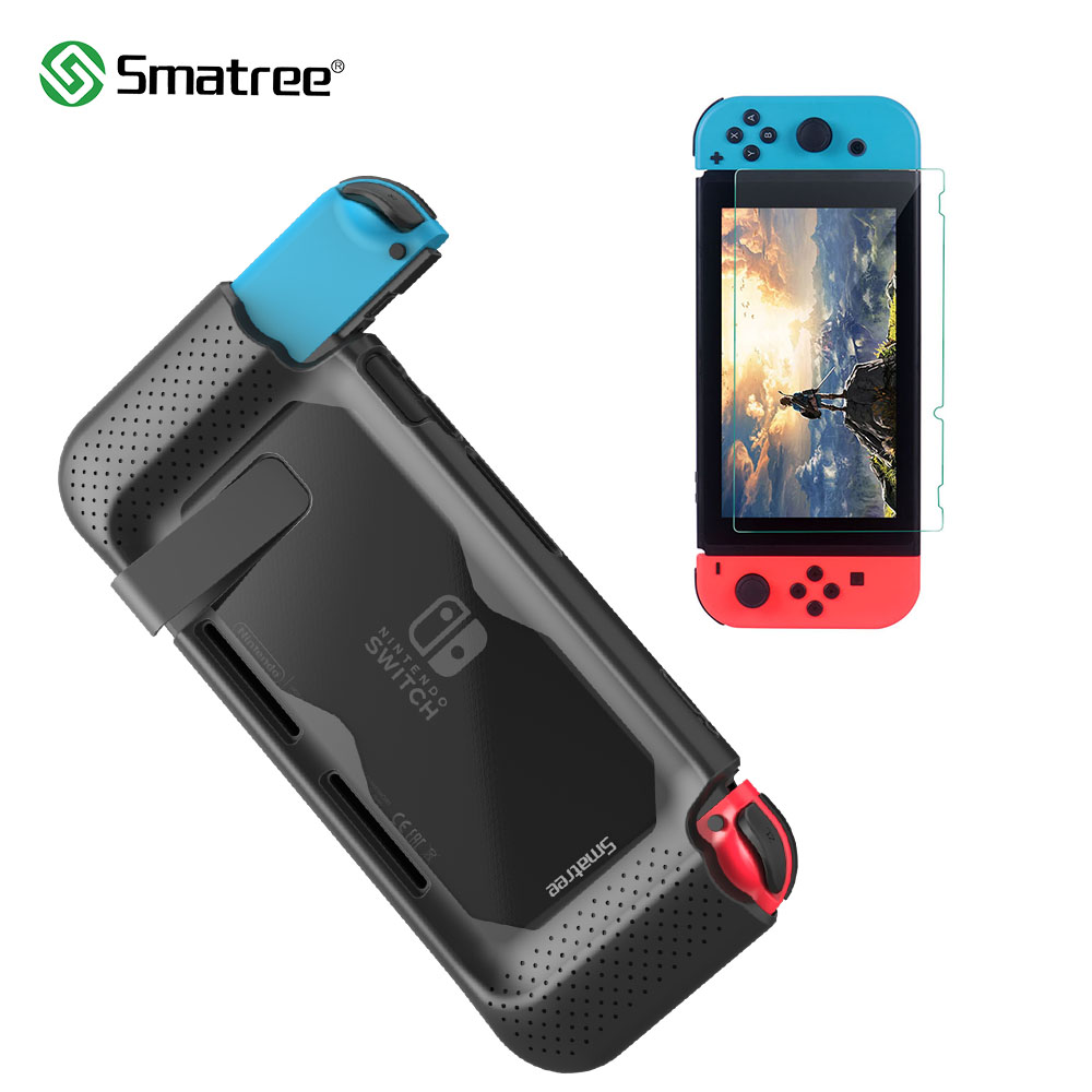 Smatree Hard Protective Case + Toughened film for Nintend Switch Console Comfort handheld Silicone protective back cover стоимость