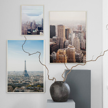 Paris Tower New York City Skyscraper Wall Art Canvas Painting Nordic Posters And Prints Landscape Pictures For Living Room