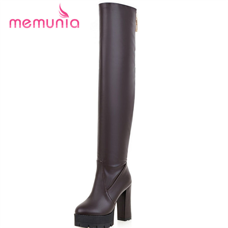 MEMUNIA big size 34 43 fashion square heels boots sexy extreme high heels women boots autumn winter 2020 new thigh high boots