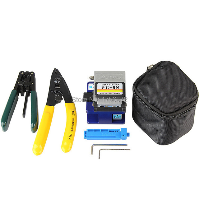 5 in 1 FTTH Tool Kits with Fiber Cleaver,Fixed Length Stripper,Drop Cable Stripper,CFS-2 Fiber Optic Stripper and Bag