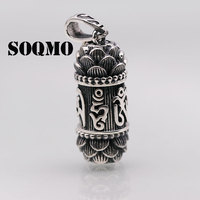 SOQMO BALMORA 1 Piece 990 Pure Silver Buddhistic Six Words' Sutra Pendants for Women Men Oil Drip Jewelry Without a Chain SQM005