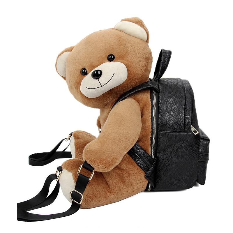 Plush Teddy Bear Backpack Stuffed Animals Women Girls Fashion Cute Backpack  School bag small backpack bag caf5e3958