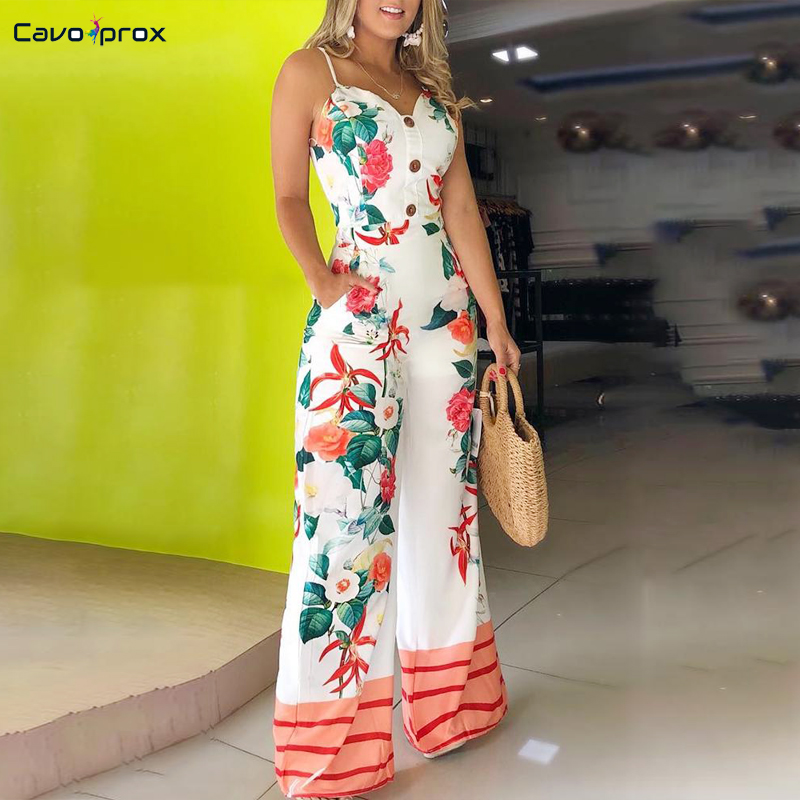 Women Spaghetti Strap Floral Print   Jumpsuit   Button Down Wide Leg Bodycon Beach Holiday Summer Elegant Party   Jumpsuits