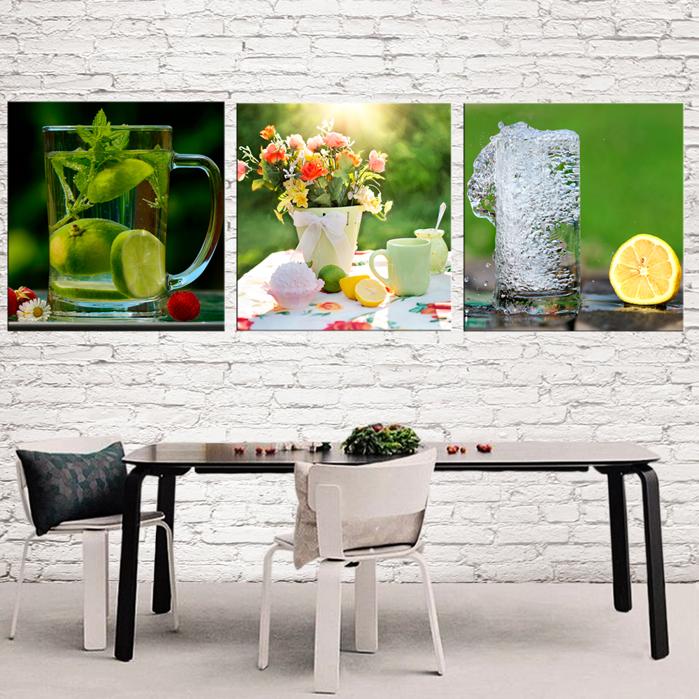 3 Stücke Noch Leben Zitrone Bilder Für Küche Leinwand Drucke Wand Dekor  Moderne Leinwand Kunst Malerei Dekorative Bilder Esszimmer