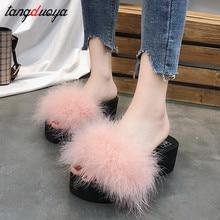 platform slippers women spring autumn shoes wedges high heel 2019 chaussures femme