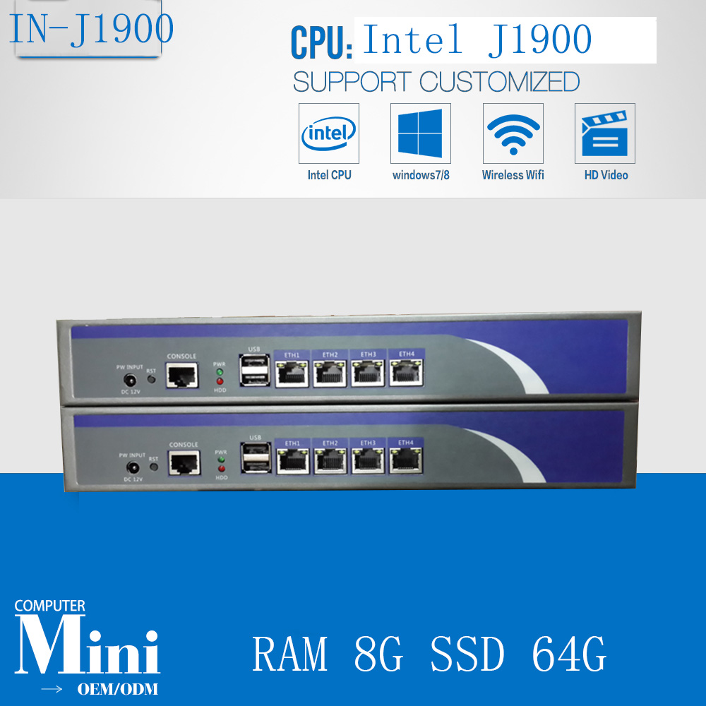 Cheap Quad-core  J1900 2.0GHZ  4LAN Firewall Network Server, Firewall Server, Gateway Router With RAM 8G SSD 64G