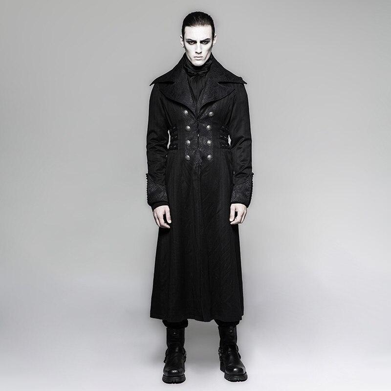 Chaqueta larga Steampunk para hombre negro a rayas Rojo abrigo de rayas abrigos de invierno etapa rendimiento personalidad Cosplay traje