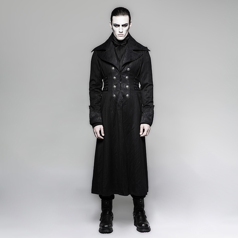 Steampunk Men's Long Jacket Black Striped Red Stripes Coat Winter Coats Stage Performance Personality Cosplay Costume