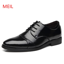 Height increasing 6CM Men Dress shoes Split Leather Oxford Brown Black Man Wedding Business Shoes formal shoe