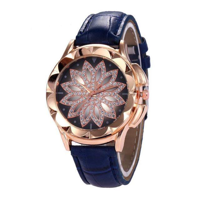 Ladies Fashion Women Rose Gold Flower Rhinestone Wrist Watches Luxury Casual Female Quartz Watch Relogio Feminino