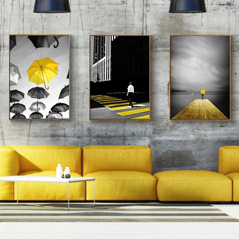 HAOCHU Modern Abstract Black White Yellow Colors City Road Sidewalk ...