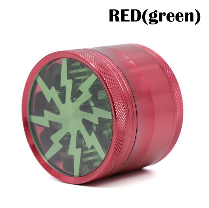 Hot Sale Colorful 4parts 63mm Aluminum Lightning Herb Weed Grinder Smoke Tobacco Wiet
