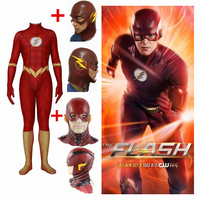 New Barry Allen The Flash Cosplay Costumes Masks Women Men Spandex Zentai Jumpsuits With Latex Mask Tights Bodysuits Suit 2019