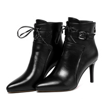 NEW! Red Winter Shoes 2016 Autumn Genuine Leather Boots Women High Heel Pointed Boots Fine with High Heel Ankle Boots with Laces