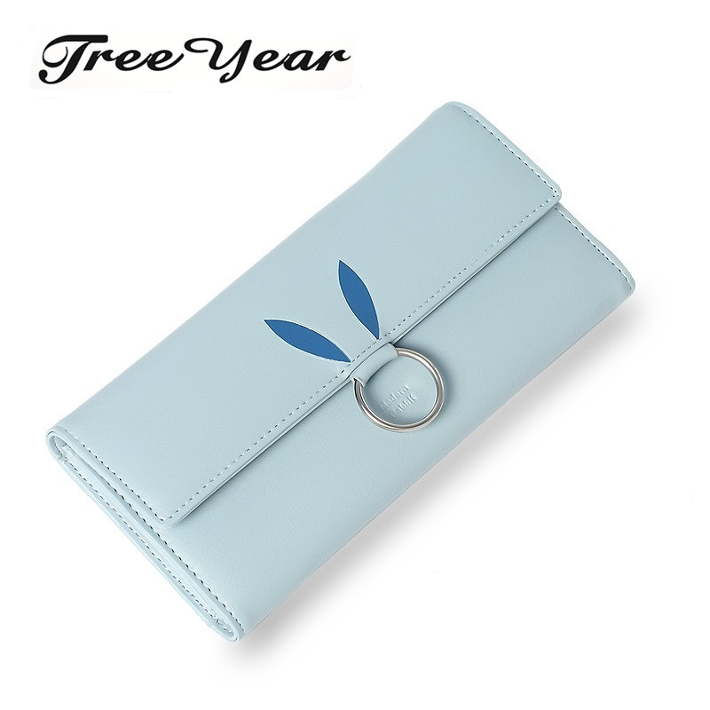 TreeYear Lovely Rabbit Lady Women Long Wallets Women's Purses PU Leather Zipper&Hasp Bag Female Clutch Wallet Phone Coin Pocket