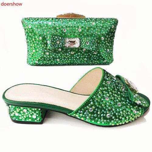 La Doershow Conception Correspondance Mode Chaussures rouge Or Pour Ensemble Africains Nigérian Dernière 4 Sac De vert Femmes pourpre Syo1 Et Fête vrYvq