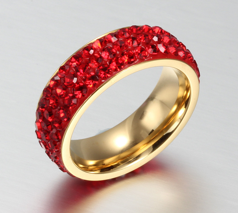 Trendy Full Mud Sticky Colorful Rock Crystal Rhinestone Ring Full of Romantic Men and Women Ring Party