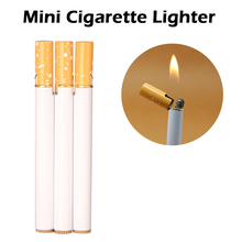 1pcs NO GAS Mini Compact Jet Butane Lighter Gas Lighter Fire Cigarette Shaped Oil Metal Inflatable Wholesale encendedor isqueiro winebottle shaped oil lighter with leather strap
