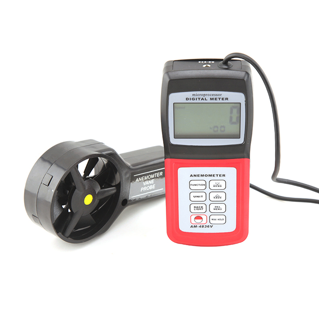 New Professional Digital Anemometer Wind Speed Tester AM-4836V Air Velocity Flow Temperature Measuring Meter 0.4~45.0 m/s