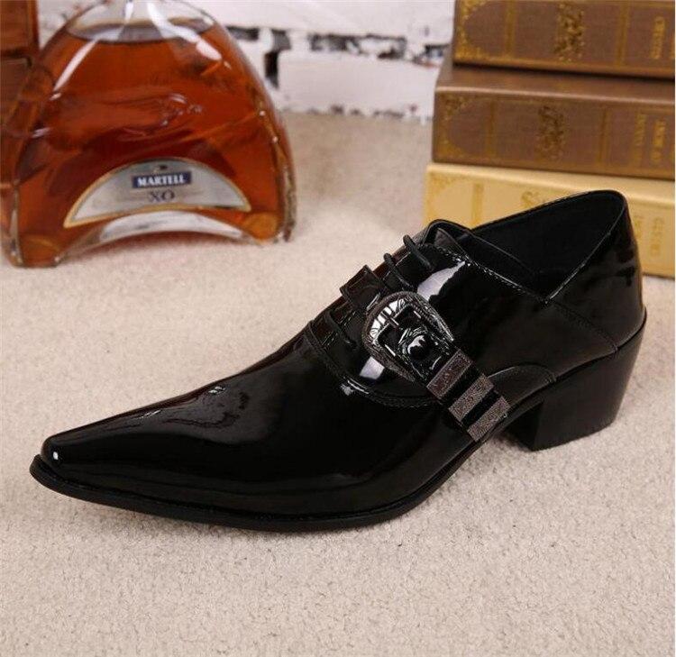 De Masculinos Fivela Primavera Sapatos Do Preto Couro Outono Calcanhar Pé Robusto Shoes Casamento Inglaterra Cinto Vestido Pontas Dedo Me Negócios Respirável fqdrTq1