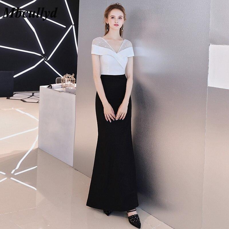 Mbcullyd Long Mermaid   Bridesmaid     Dresses   V Neck 2019 Black Satin Floor Length Black Maid Of Honor   Dress   Women Vestidos de fiesta