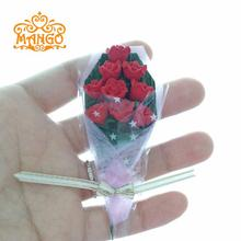 1/12 Dollhouse Miniature Clay Flower red Rose Bouquet Romantic Free Shipping