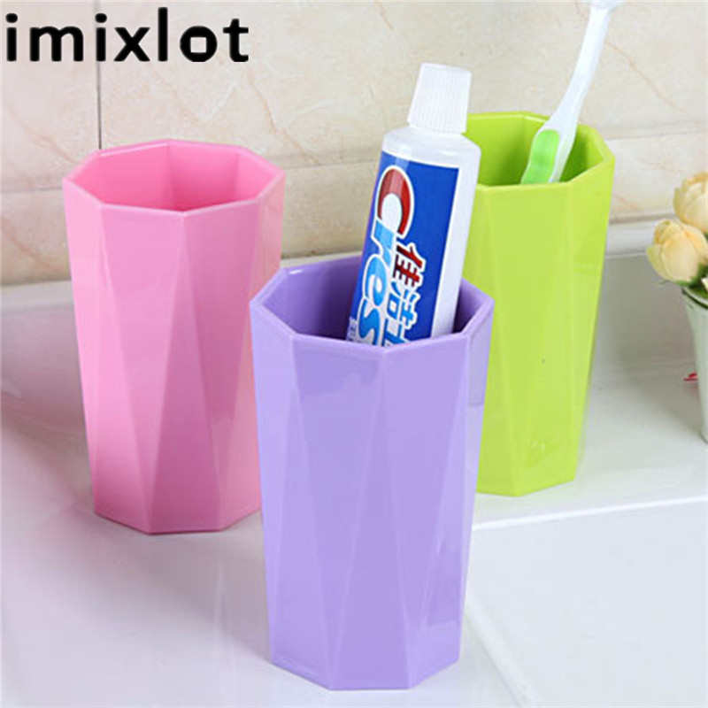 Imixlot Protable Plastic Red Color Tooth Mug Tooth-Brushing Cup Tumbler Children Adults Toothbrush Holder For Bathroom Supplies image