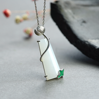 Real Pure 925 Silver White Jade Pendant For Women With Lotus Enameling Personalized Lucky Pendant Ametist