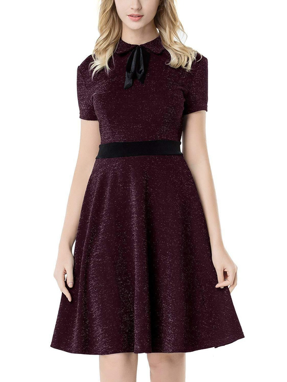 USA Women's Short Dress Vintage Pan Collar Sparkly Cocktail Party Dress