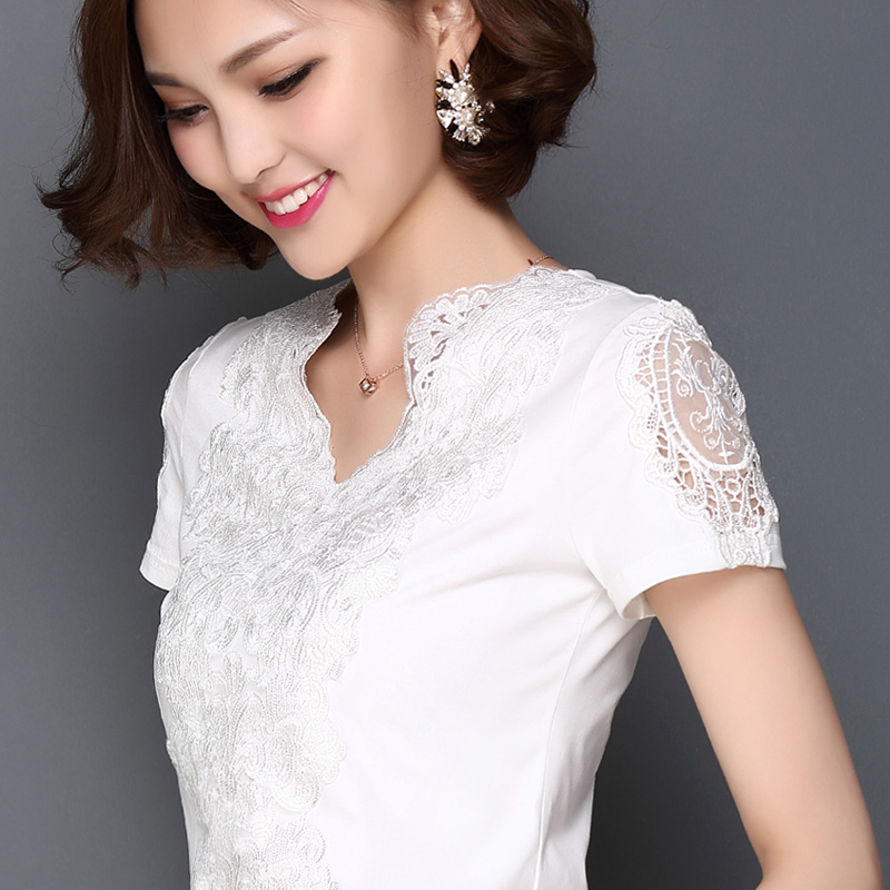 2017 Fashion Summer Style Blusa White Lace Cotton Blouse Elegant Women Tops Plus Size Sexy Hollow - New Long-sleeve Women Embroidery Giraffe Leaves Shirt female