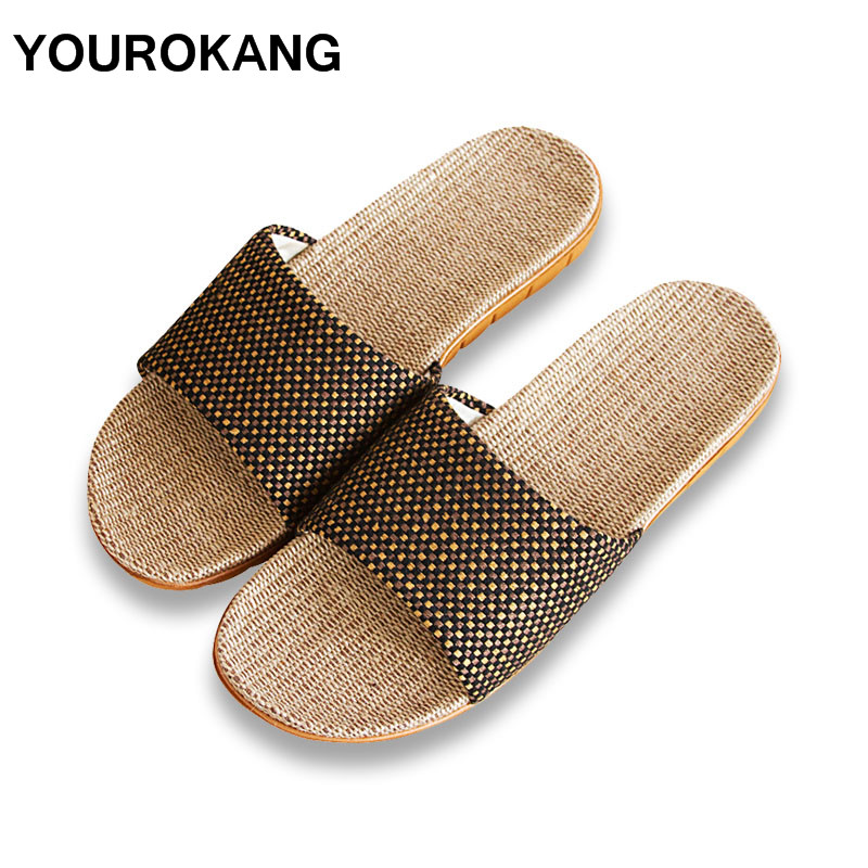 Summer Men Home Slippers Fashion Cool Male Linen Slipper Antiskid Lightweight Indoor Floor Couple Lovers Shoes New Arrival