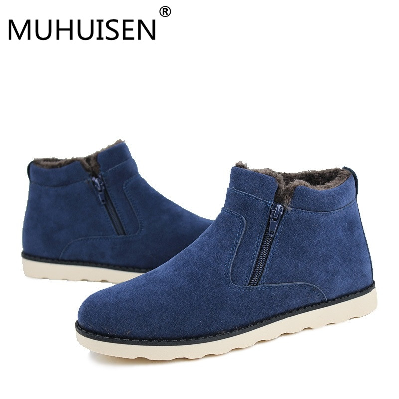 Big Size Men Shoes 2018 Top Fashion New Winter Casual Ankle Boots Warm Winter Fur Shoes Leather Footwear