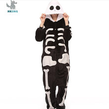 HKSNG Adult Skull Kigurumi Pajamas Flannel Skeleton Halloween Party Oneises  Cosplay Costumes Jumpsuits Pyjamas Hooded 780752378