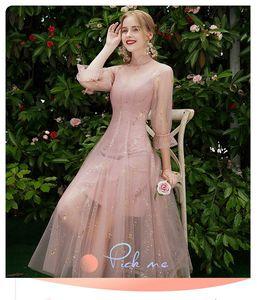 Image 2 - Beauty Emily robe de demoiselle dhonneur, ligne A, en dentelle, rouge, longues, robes de bal de mariage pour femmes, 2019