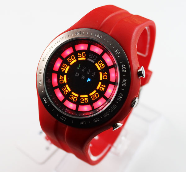 New Design Girl's/Ladies Sports Red Rubber Silicone Binary LED Watch.