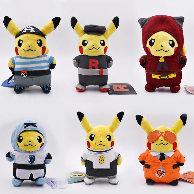 6 Styles Kawaii Pikachu Plush Toys Cosplay Team Rocket Stuffed Plush Animals Doll Kids Baby Best Toy Birthday Gift 8