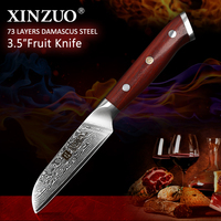 XINZUO Brand 3.5'' inch Paring Kitchen Knife Handmade Damascus Steel Rosewood Handle Japanese Carved Peeling Knife Kitchen Tools
