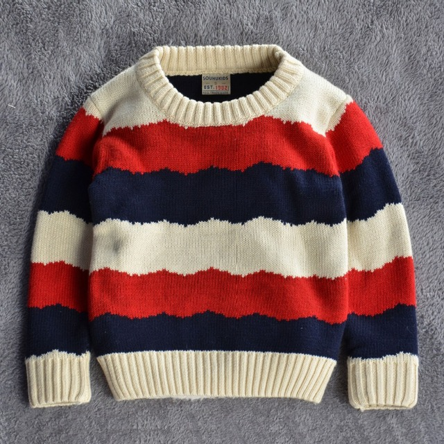 2015 New  Autumn/winter Kids Children Sweaters Shirts baby boys girls 100%Cotton warm sweater Solid Striped  Pullovers