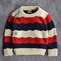 2015 outono / inverno crianças crianças blusas meninos meninas 100% camisola de algodão quente listrado Pullovers